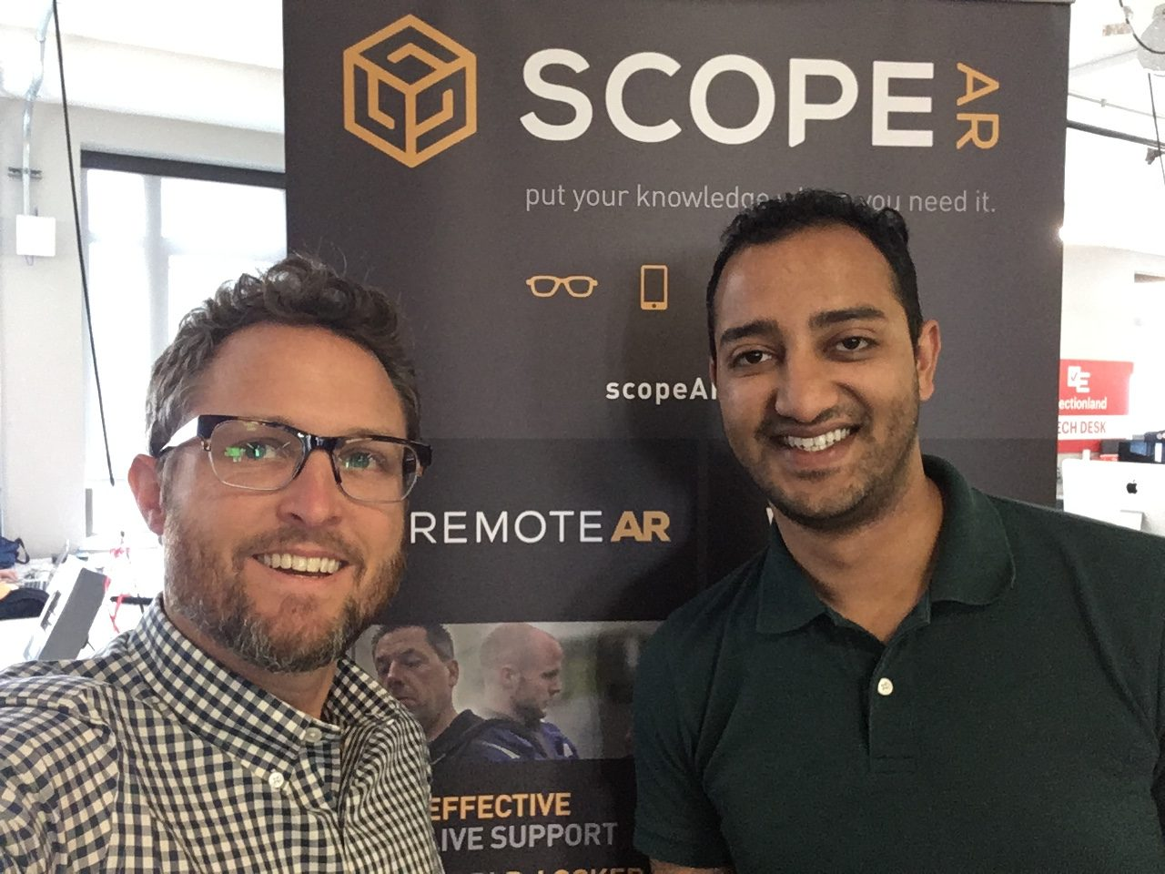 Paul demoing Scope AR's Remote AR and WorkLink products with Director of Sales & Business Development Nayan Mehta